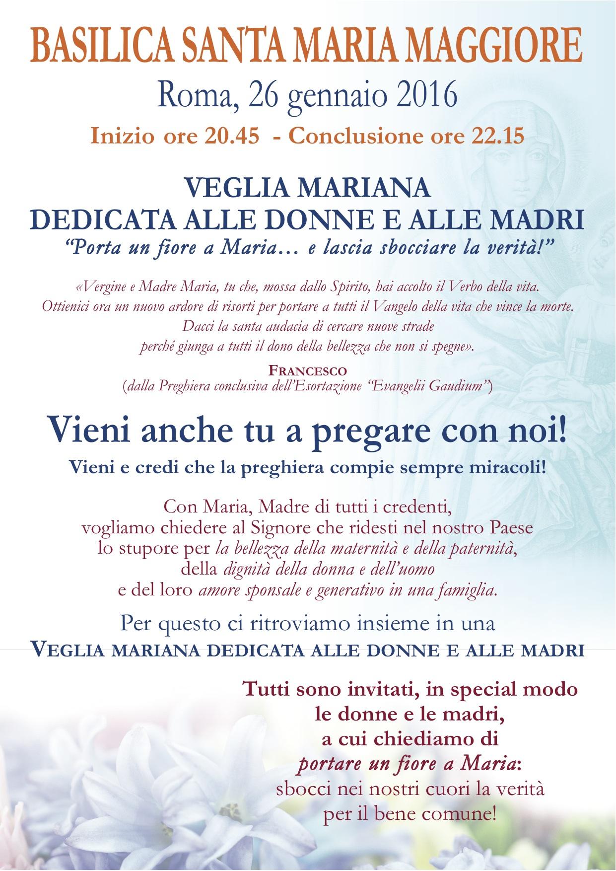 Locandina Veglia di Preghiera S. Maria Maggiore 26 gennaio 2016